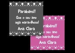 Etiquetas Quadradas para Presente Arco-Iris Bolinha