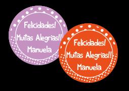 Etiquetas Redondas para Presente Arco Iris Bolinha